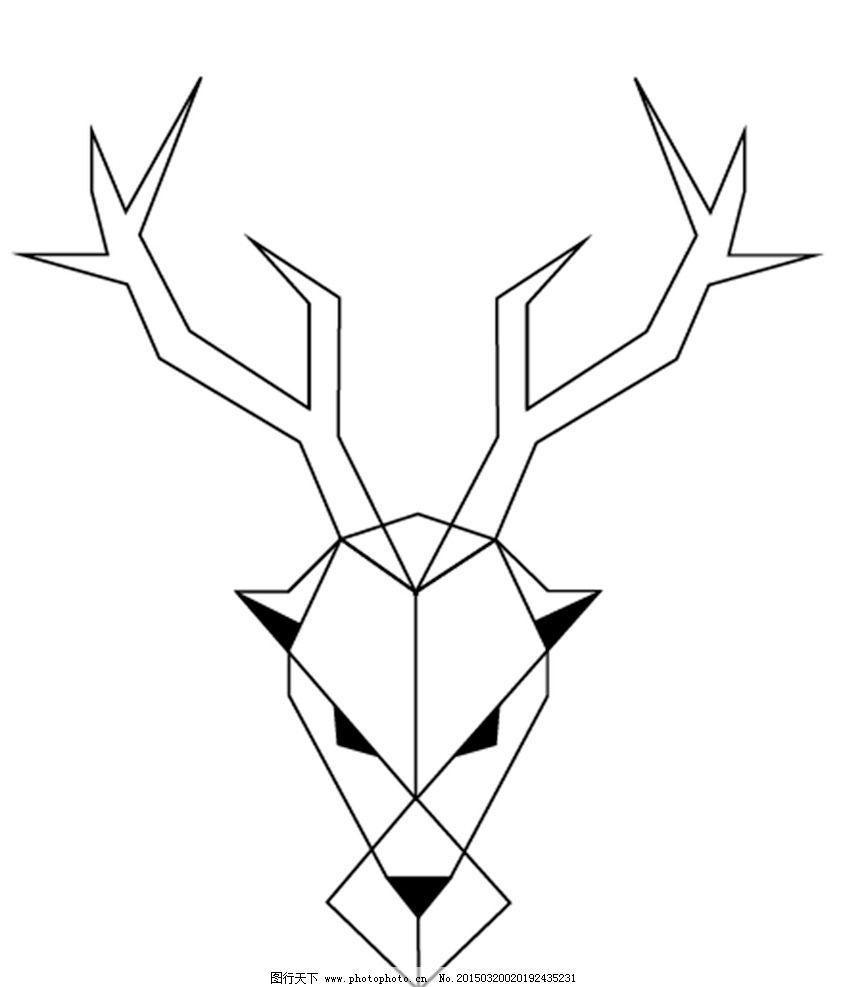 鹿的头像 直线条 宁静 柔顺 活力 黑白 抽象 标志图标 其他图标图片