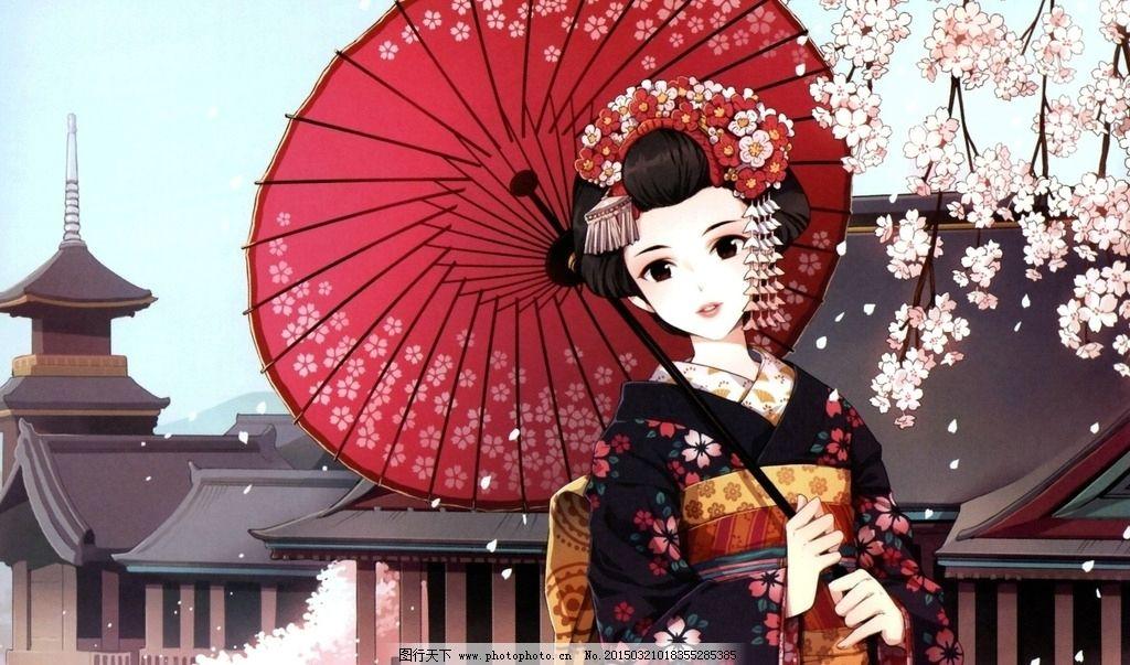 日本传统樱花手绘