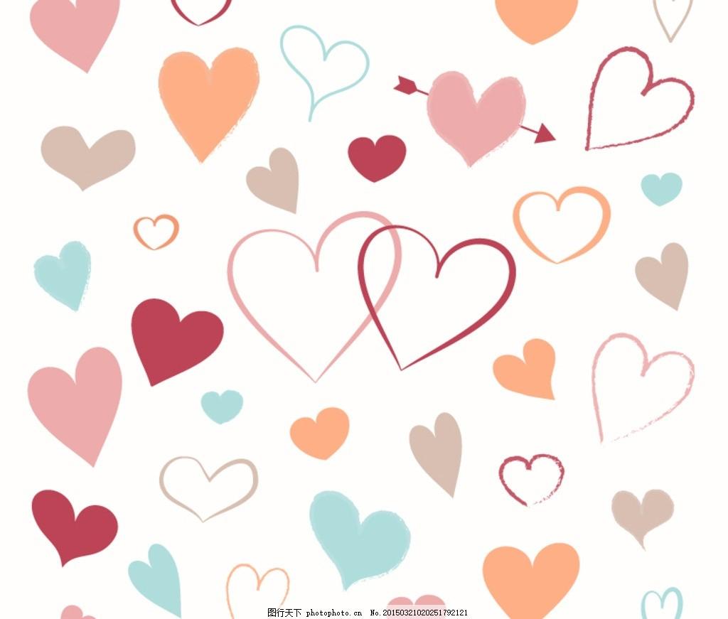 手绘爱心背景 卡通爱心 心形 素雅爱心背景 爱心无缝背景 可爱爱心