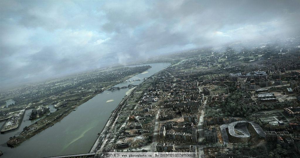 城市废墟鸟瞰图片
