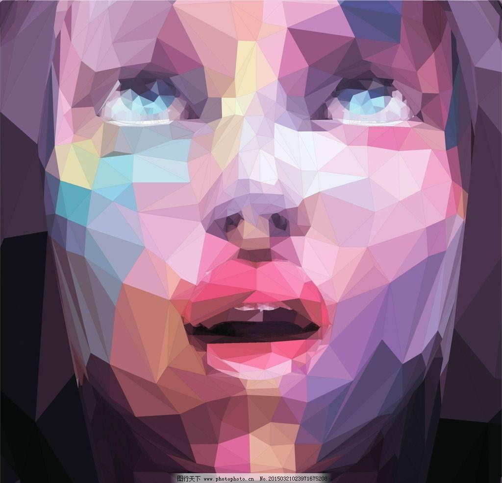 多边形图像 人物头像 网格 低多边形图案 褶皱底纹 背景底纹 抽象