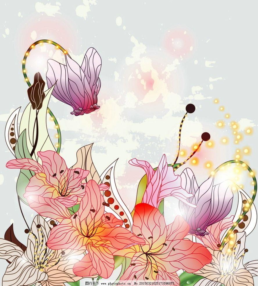 百合花 手绘 百合素材 鲜花素材 花卉 鲜花背景
