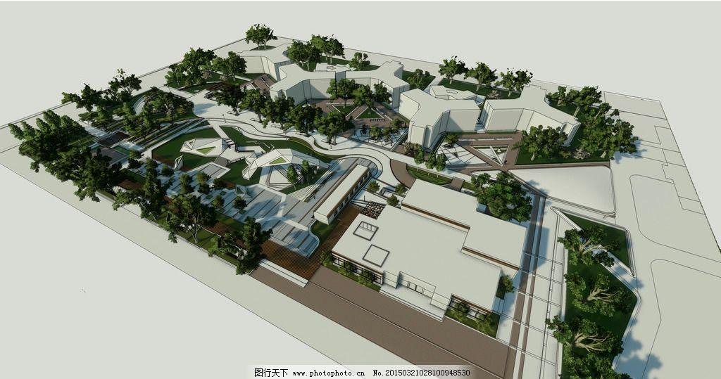 校园广场景观鸟瞰图图片