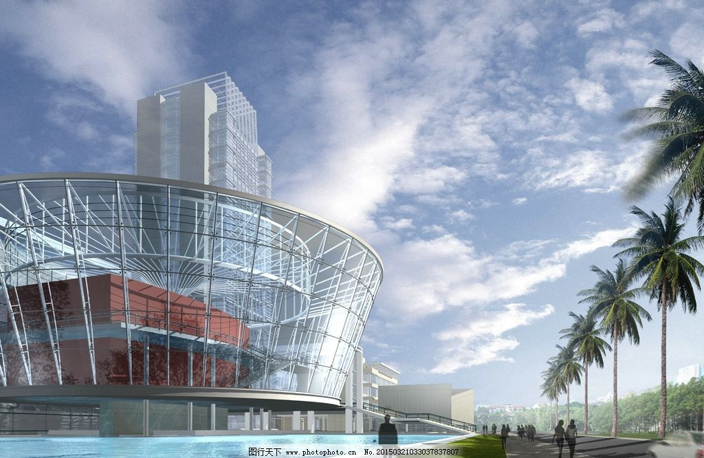 现代建筑透视效果图psd图片