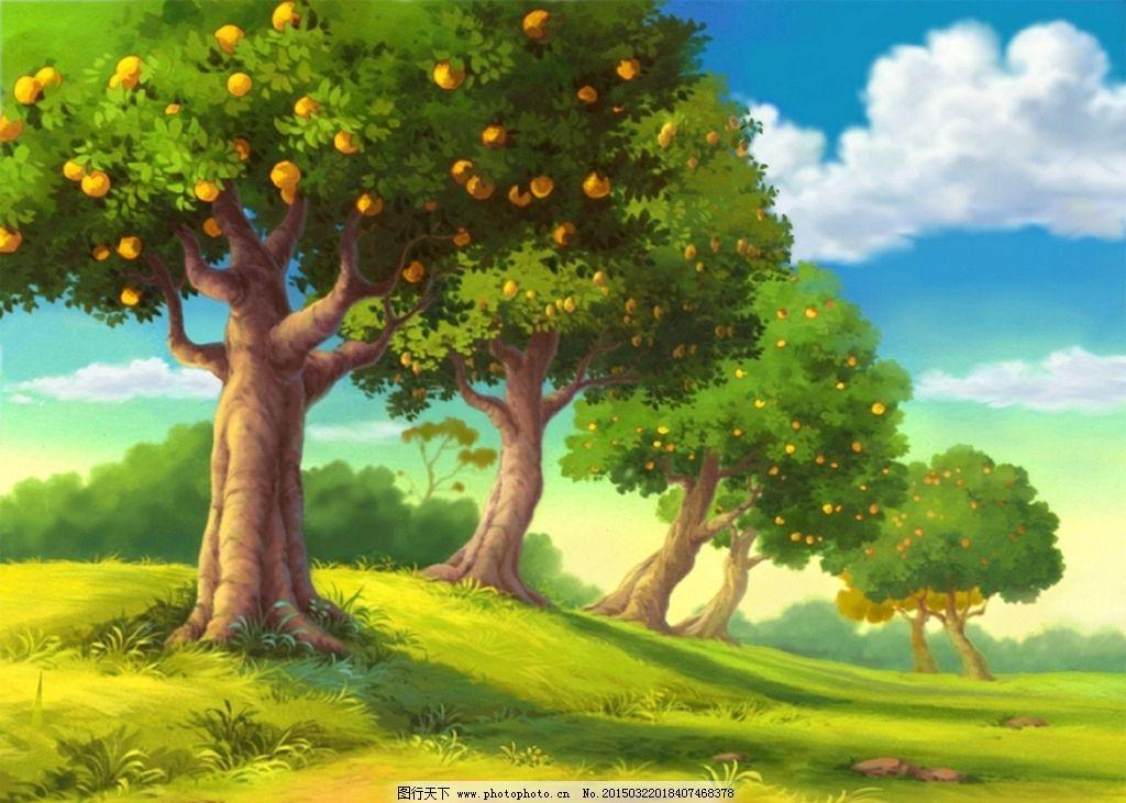 卡通手绘 自然风景 大树 森林 背景 天空 自然风光 设计 动漫动画