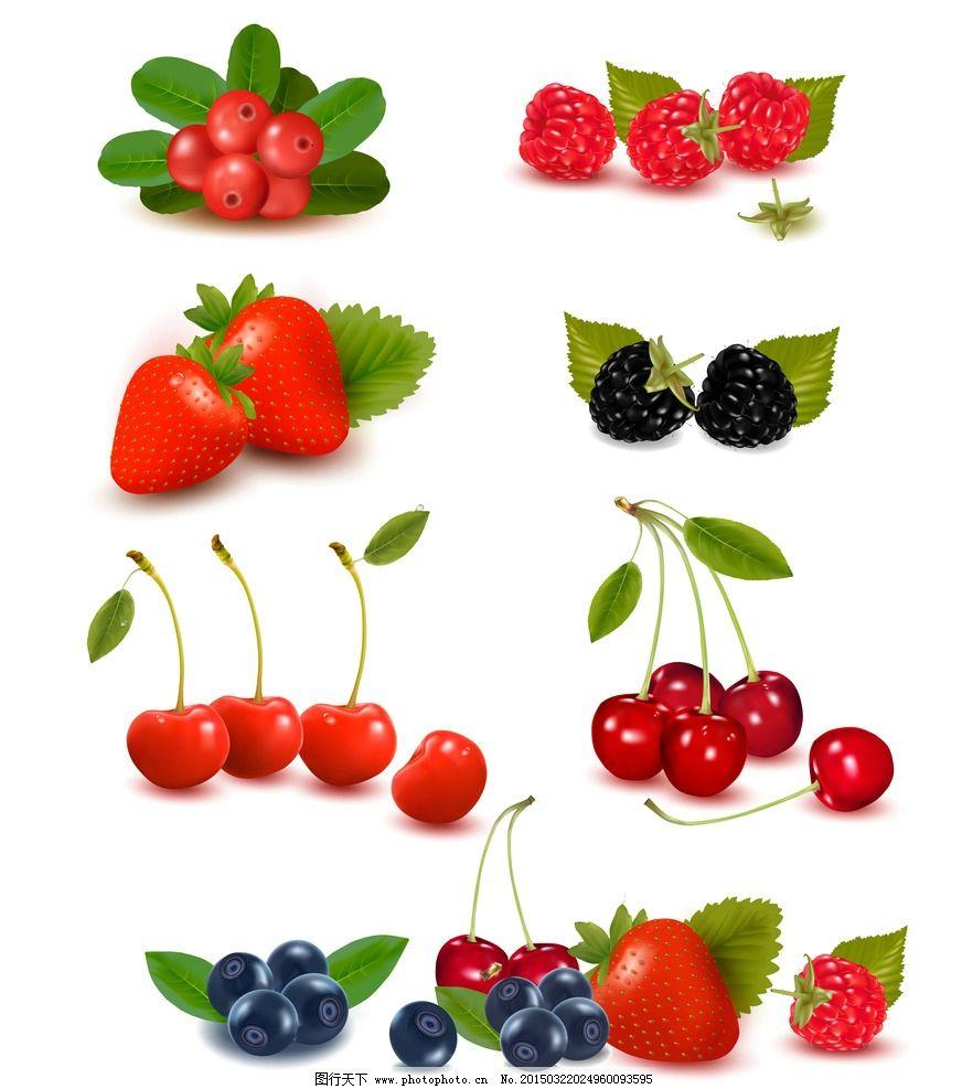 水果 草莓 樱桃 手绘水果 绿叶 生物世界 设计 eps 设计 生物世界