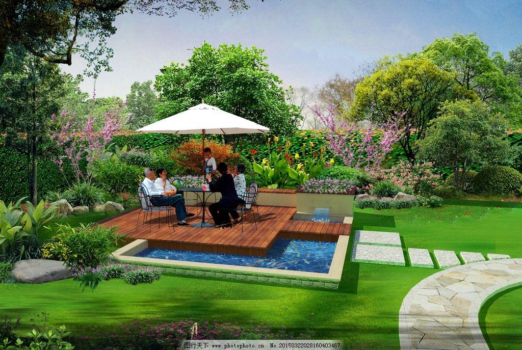 别墅花园 亲水平台 景观设计 户外休闲