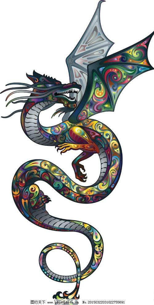 矢量素材 矢量图 创意设计 图案 动物 彩色 炫彩 炫丽 刺青 纹身 花纹