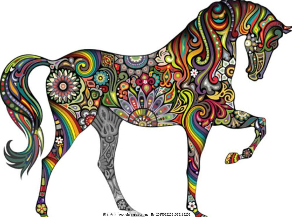 彩色动物纹身刺青图案矢量素材图片