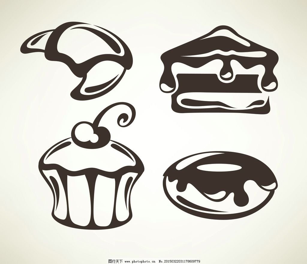 蛋糕 面包 手绘 美食 奶油 早餐 营养 西餐美食 餐饮 设计 矢量 eps