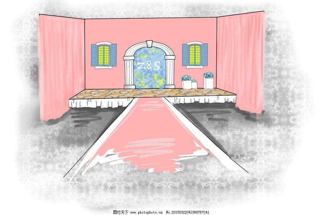 粉色 婚礼 手绘效果图 板绘 温馨 婚礼手绘图 设计 动漫动画 其他 256