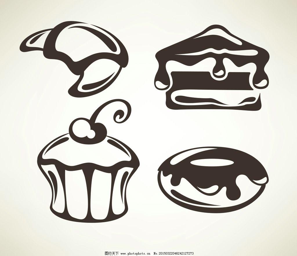 蛋糕 面包 手绘 美食 奶油 早餐 营养 西餐美食 餐饮 矢量