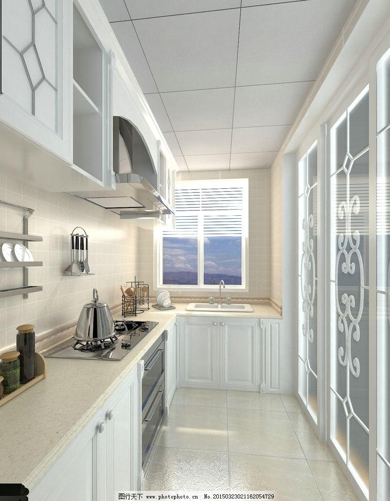 厨房效果 欧式厨房 白色厨房 厨房室内设计 参考图        厨房