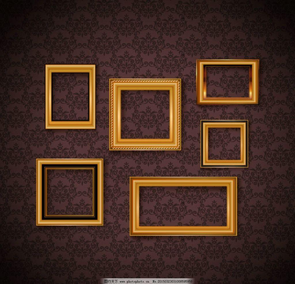 华丽壁纸 金色相框 矢量素材 花纹 欧式 壁纸 墙壁 相框 画框 矢量图