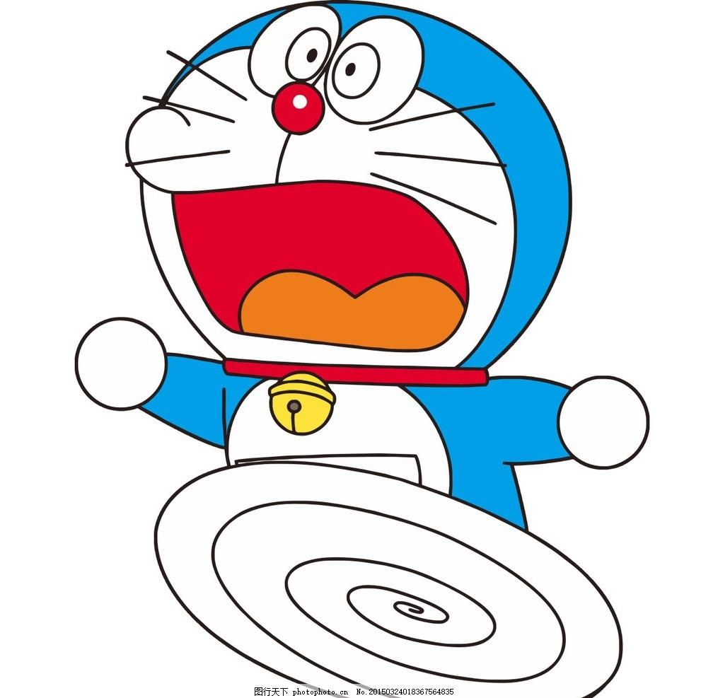 动漫卡通人物 机器猫 日本 无所不能 口袋 铃铛 有胡子 红鼻子 大嘴巴