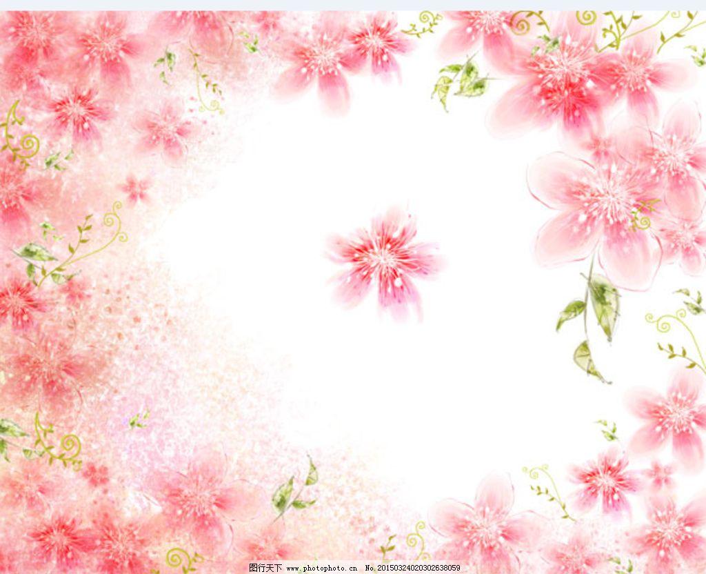 淡雅粉色桃花背景图片_花边花纹_底纹边框_图行天下
