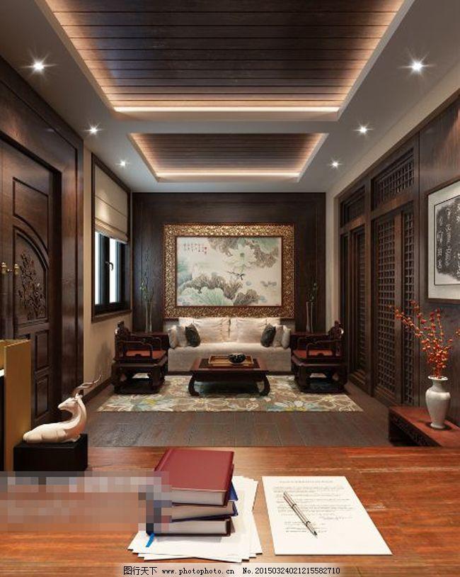 中式办公室模型图片