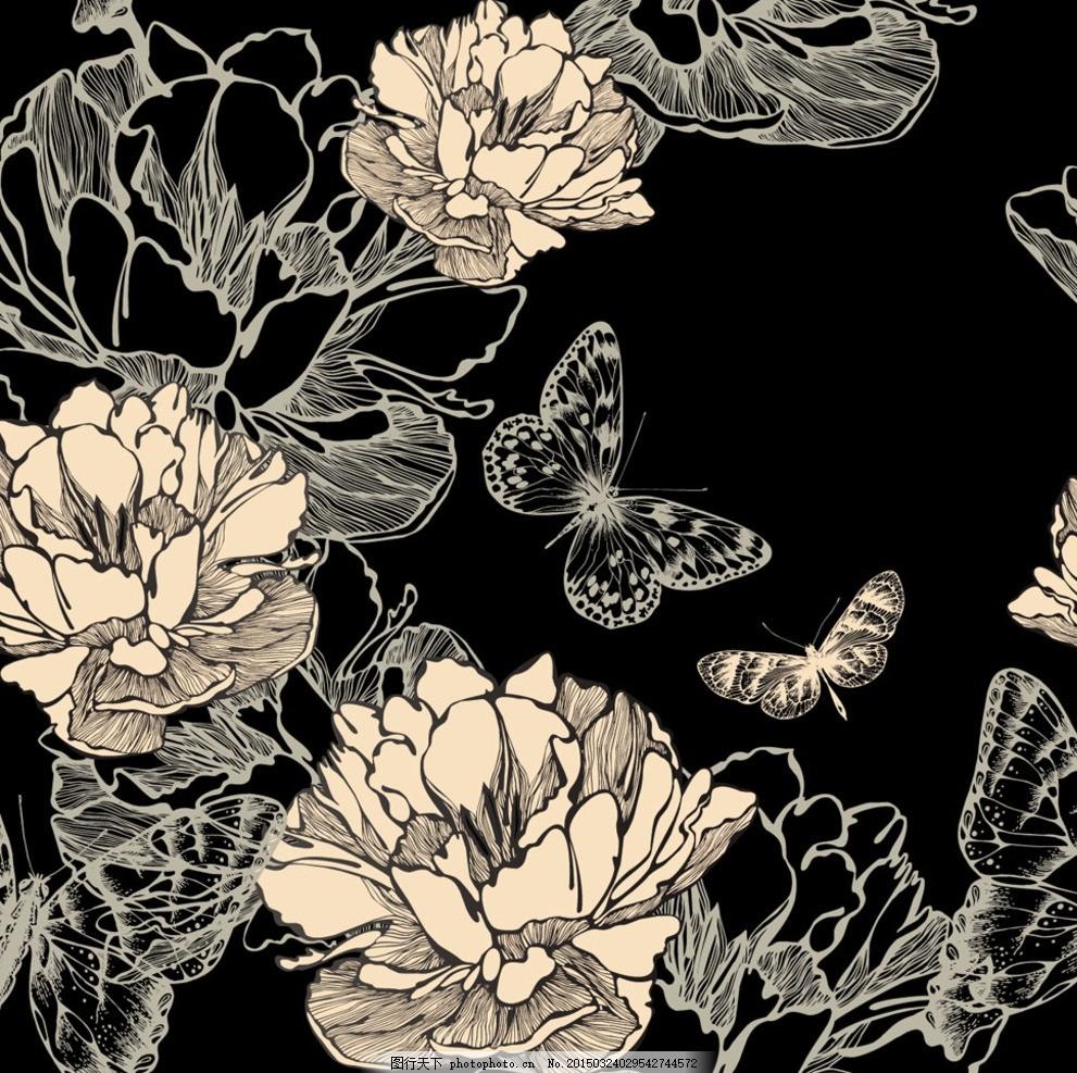 怀旧复古 情书 花纹边框 欧式怀旧 复古花纹 欧式 欧式底纹 黑白花纹