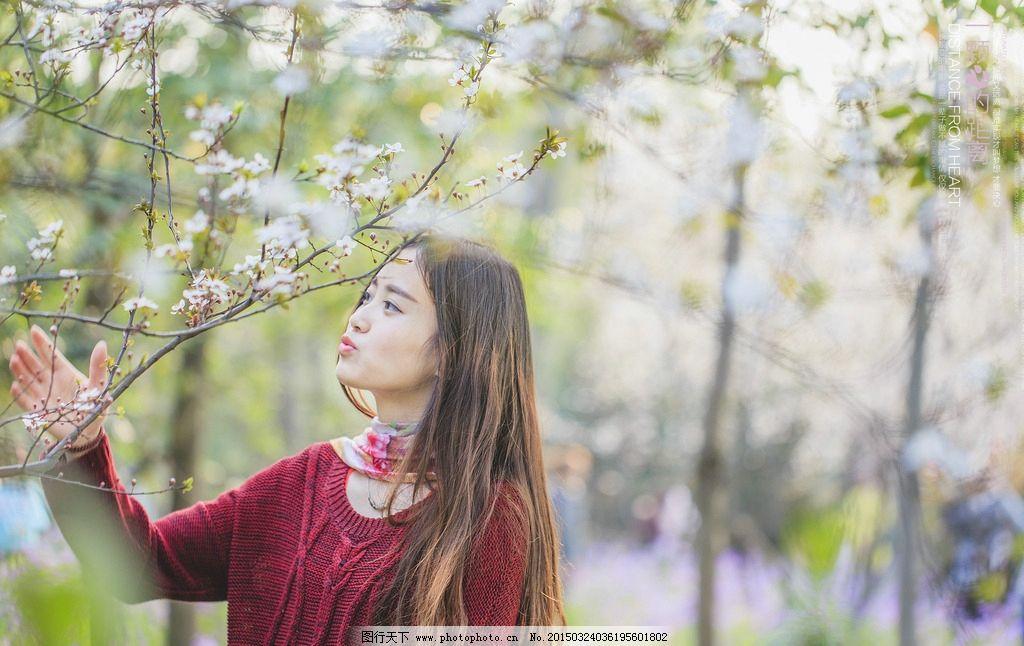 清纯和服美女樱花树下唯美壁纸下
