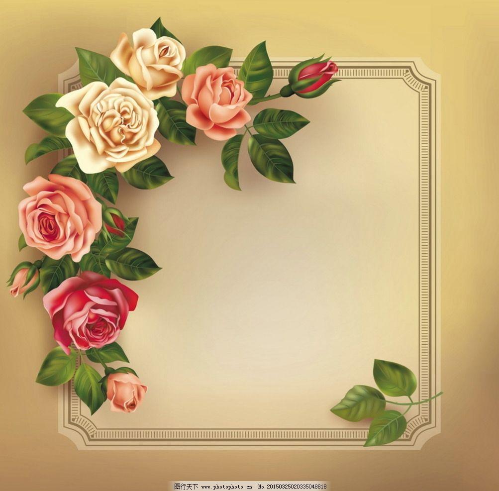 玫瑰花素材 婚礼素材 花边 边框 相框 花纹花边 精美花边 矢量花边
