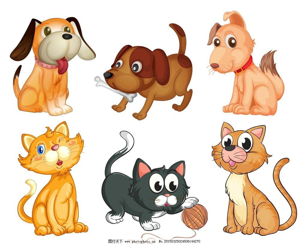 卡通动物 可爱 手绘 猫咪 小狗 宠物狗 卡通设计 矢量 设计 生物世界