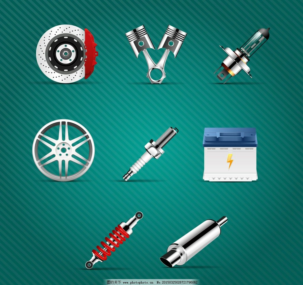 汽车零件 减震器 电池 矢量 eps 设计 现代科技 交通工具 eps