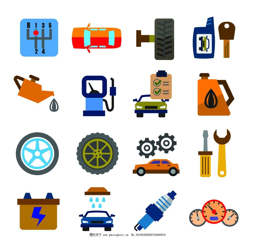 汽车零件图片,加油 标签 图标 轮胎 维修 修理工具-图