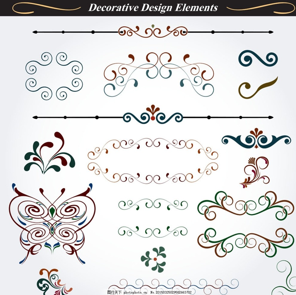 广告设计 设计案例  欧式花纹 经典花纹 现代 时尚 边框花纹 页眉 页