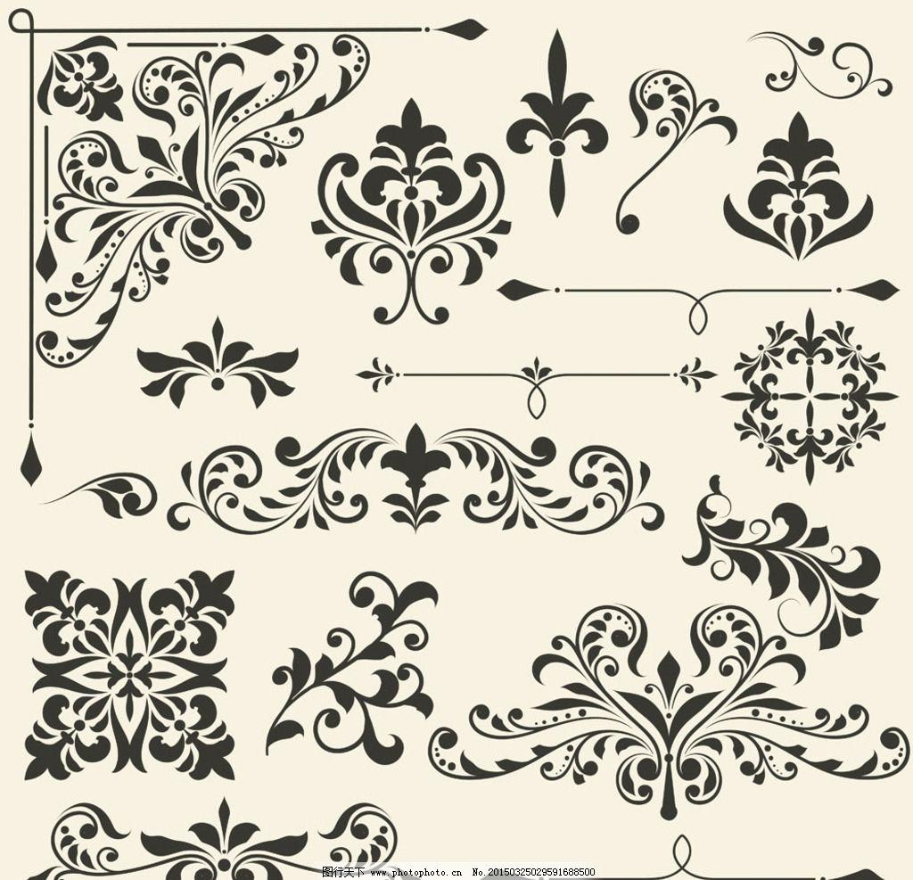 页尾 手绘 怀旧复古 情书 花纹边框 欧式怀旧 复古花纹 欧式底纹 黑白图片