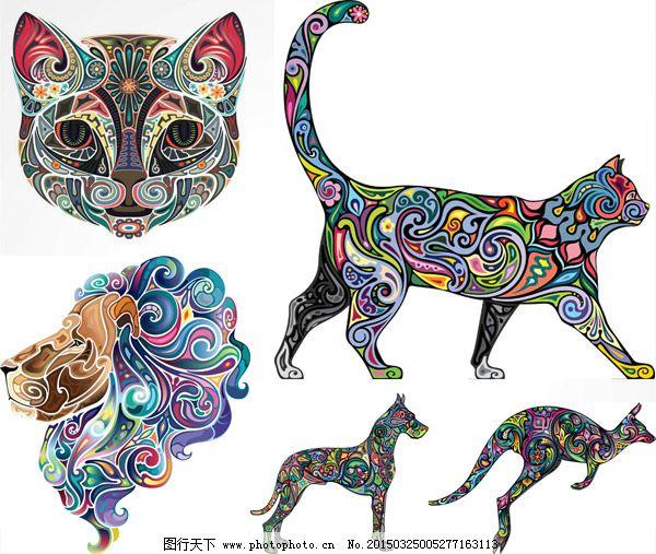 矢量图 创意设计 彩色 炫彩 炫丽 刺青 纹身 花纹 图案 动物 猫头