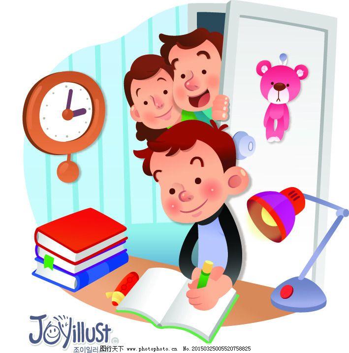 写字的男孩爸爸妈妈矢量图免费下载 ai 插画 家庭人物 卡通人物 设计