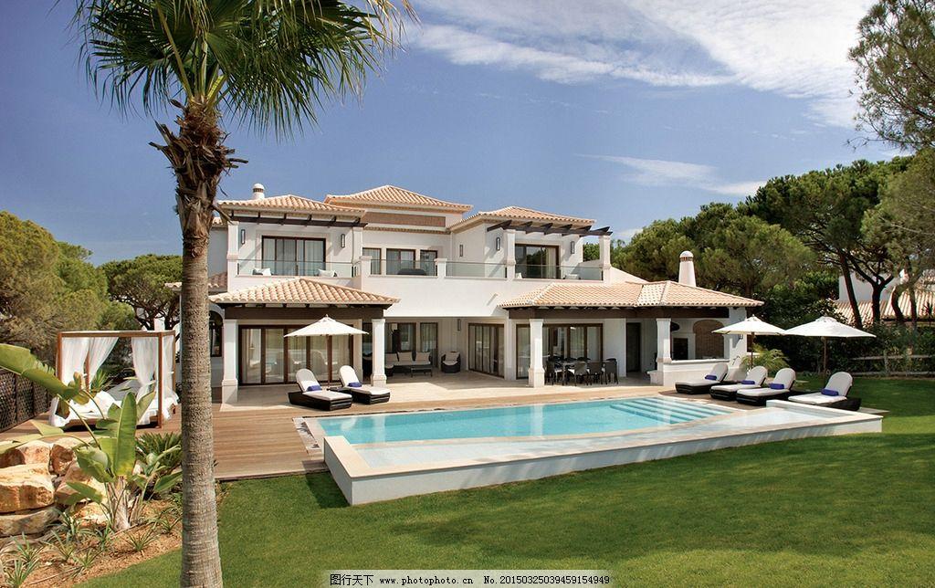 别墅 建筑 国外 房子 草地 风景 泳池 摄影 建筑园林 建筑摄影 300dpi