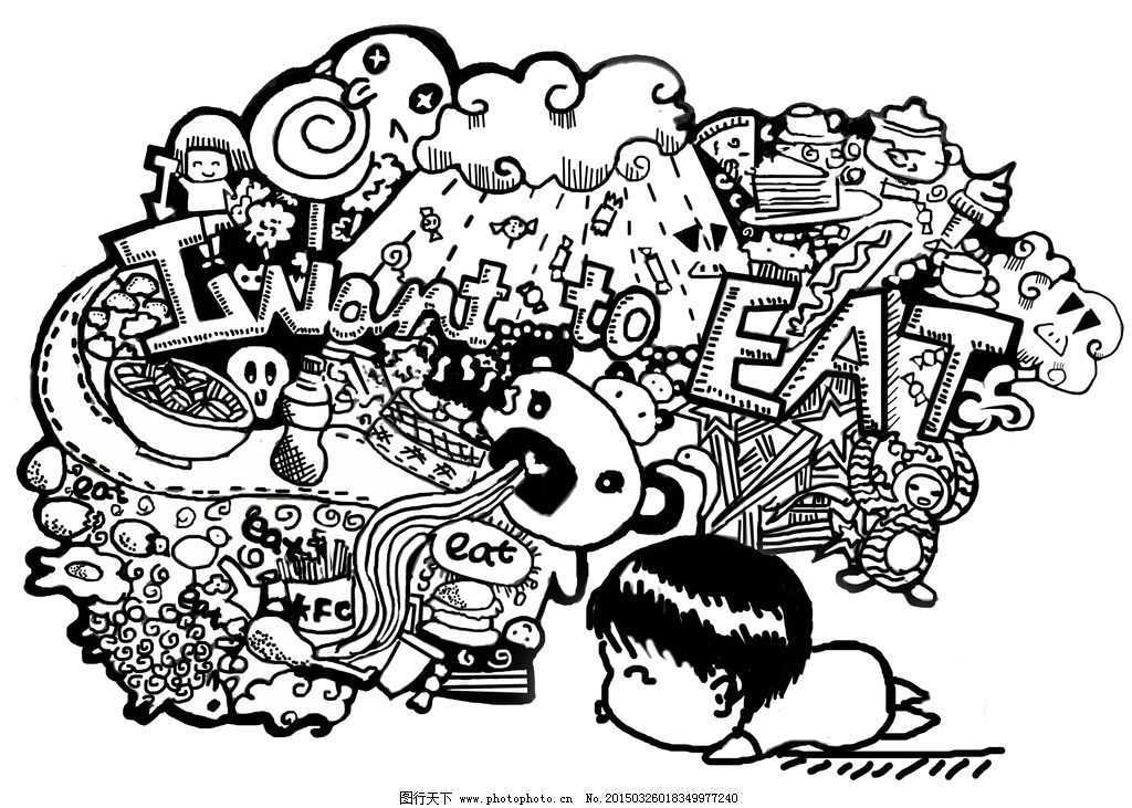 黑白美食插画图片_动漫人物