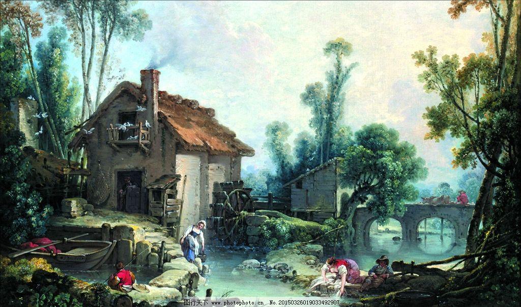 油画装饰画 油画风景 山水风景油画 欧式油画 古典油画 壁画 古典油画