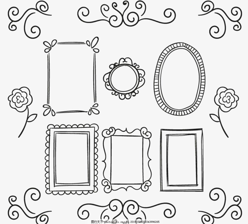 手绘花纹与镜框设计矢量素材 花纹 镜框 相框 边框 花边 欧式 古典