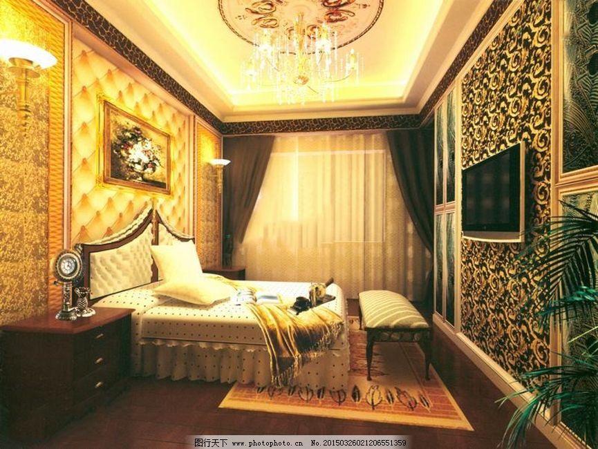 欧式卧室 室内设计 别墅卧室 室内设计 电视机 欧式卧室 3d模型素材