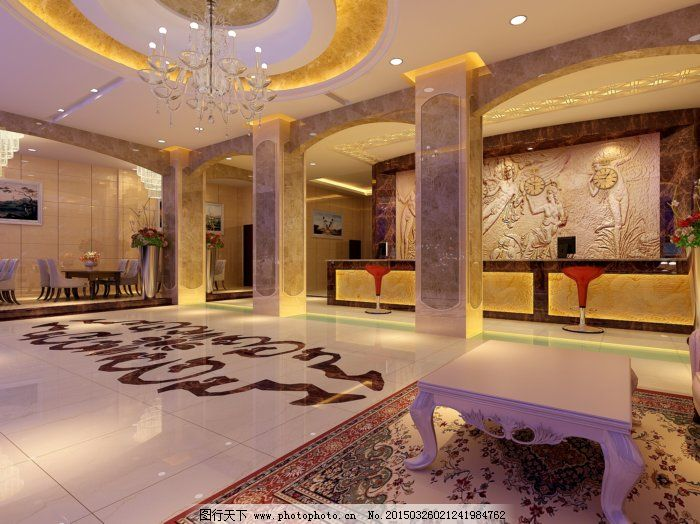 欧式大堂模型免费下载 3d模型 欧式装修 欧式装修 3d模型 休闲区 室内