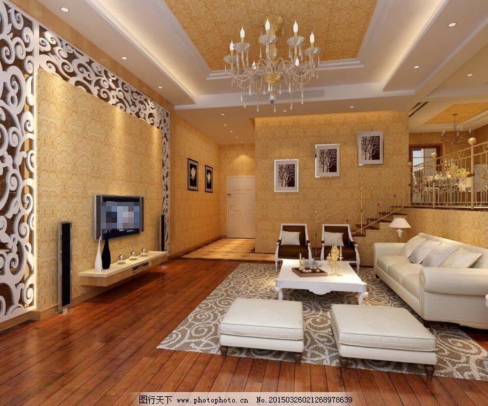 欧式家装客厅 欧式家装客厅免费下载 电视机 沙发茶几 客厅模型