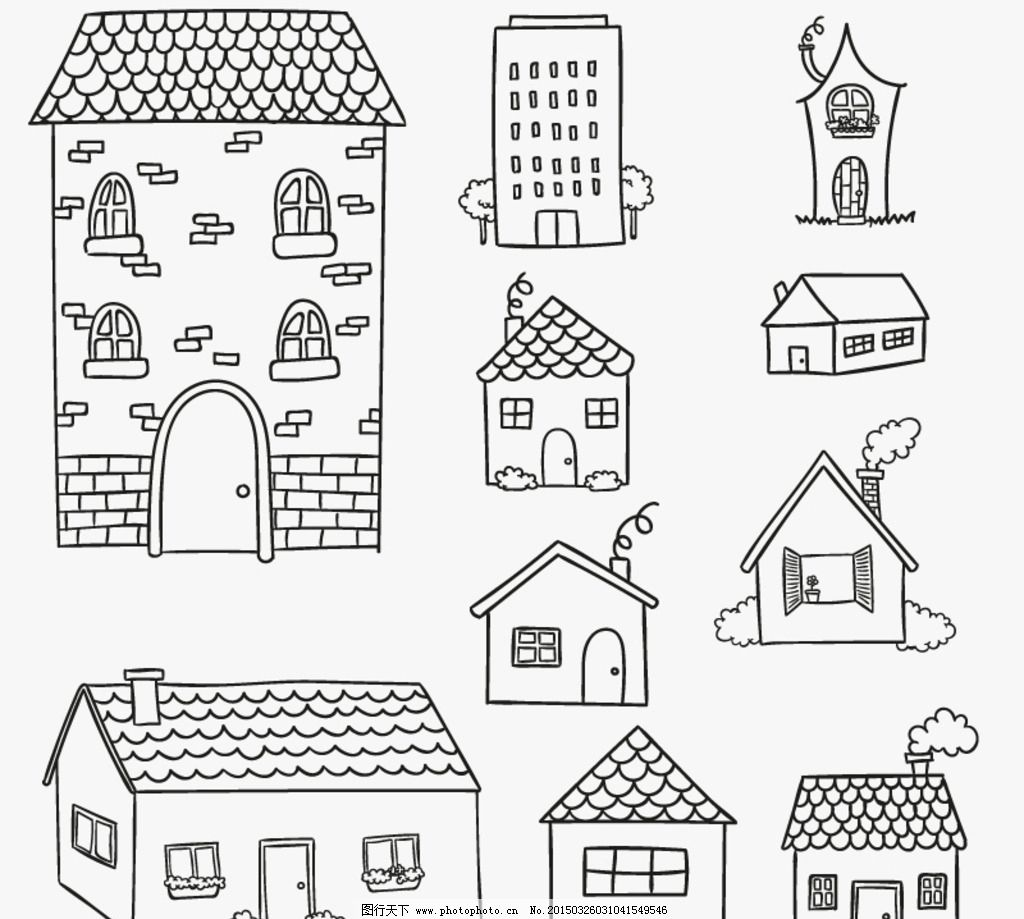 手绘房屋设计矢量素材图片