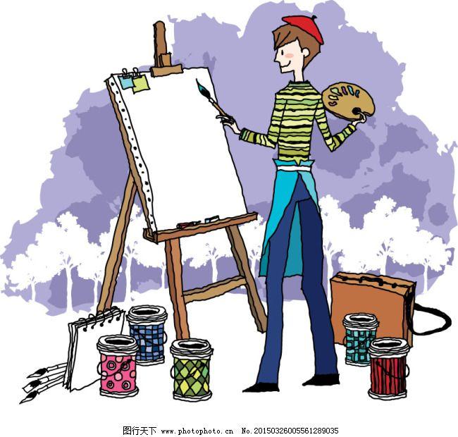 画画的男孩插画图