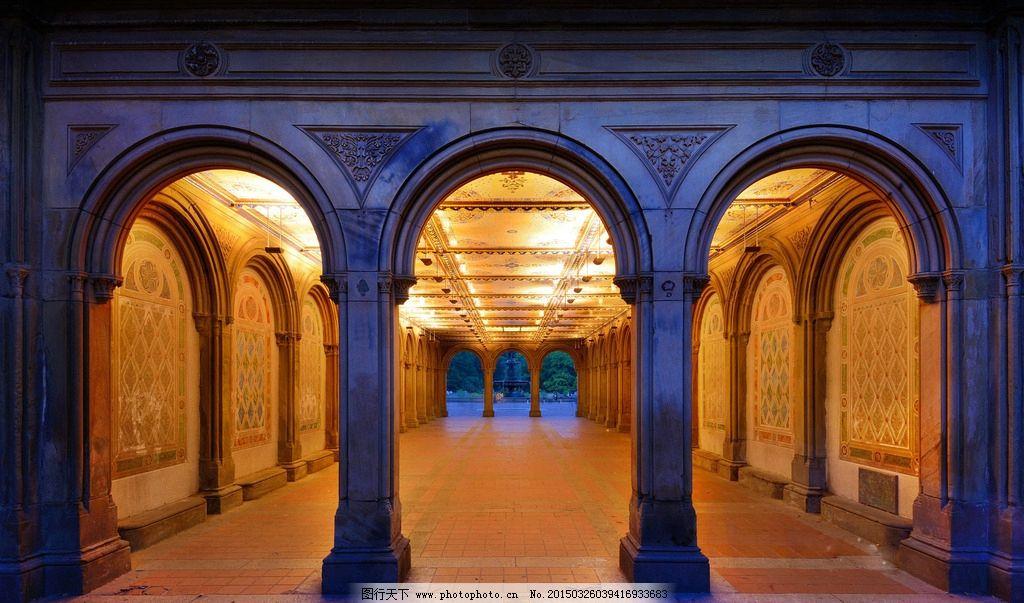 拱门 建筑 欧式 门洞 灯光