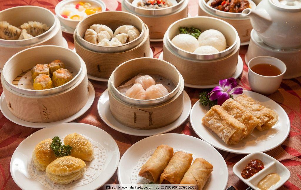 茶点 港式茶点 中餐 粤式 港式 下午茶 烧卖 凤爪 包子 广式早点 摄影图片