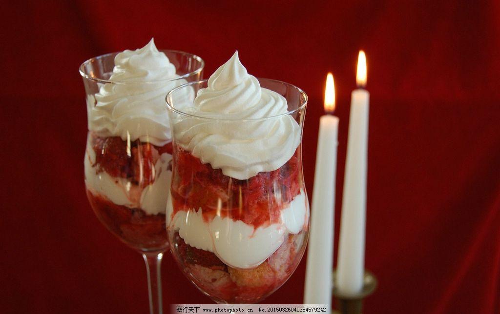 水果冰淇淋图片,奶油 杯子 蜡烛 烛光 唯美 火焰-图行
