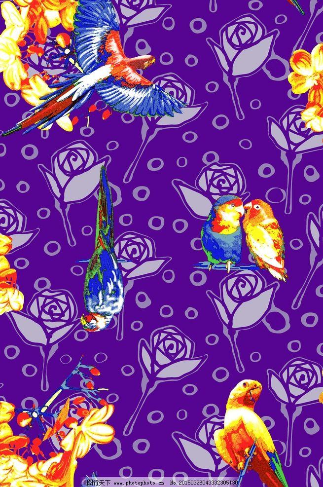 鹦鹉 花朵 动物 彩色小鸟 印花鸟 水彩小鸟 设计花型 底纹边框