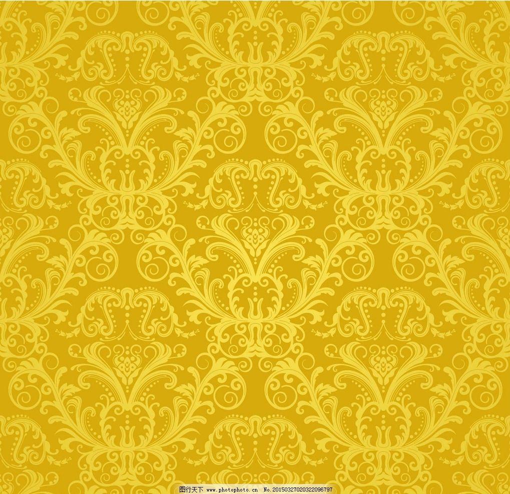 皇室花纹 欧式 高档黄色背景