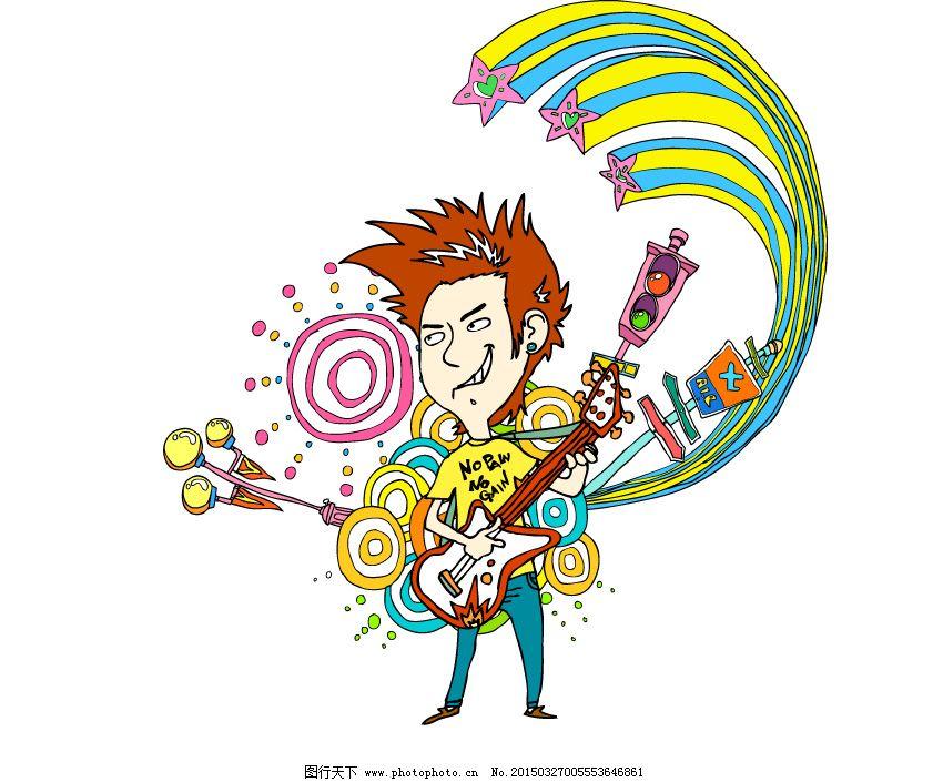 ai 弹吉他 动感背景 卡通画 男子 矢量图 矢量图 卡通画 弹吉他 男子