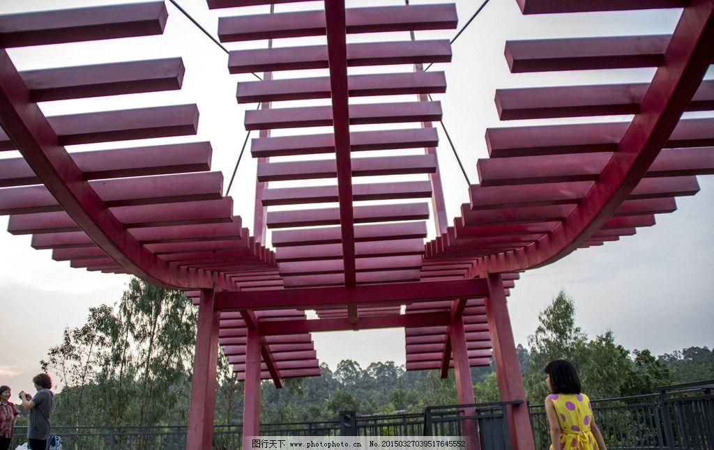 建筑 园林 木材 红色 现代背景 现代建筑 摄影 建筑园林 园林建筑 240