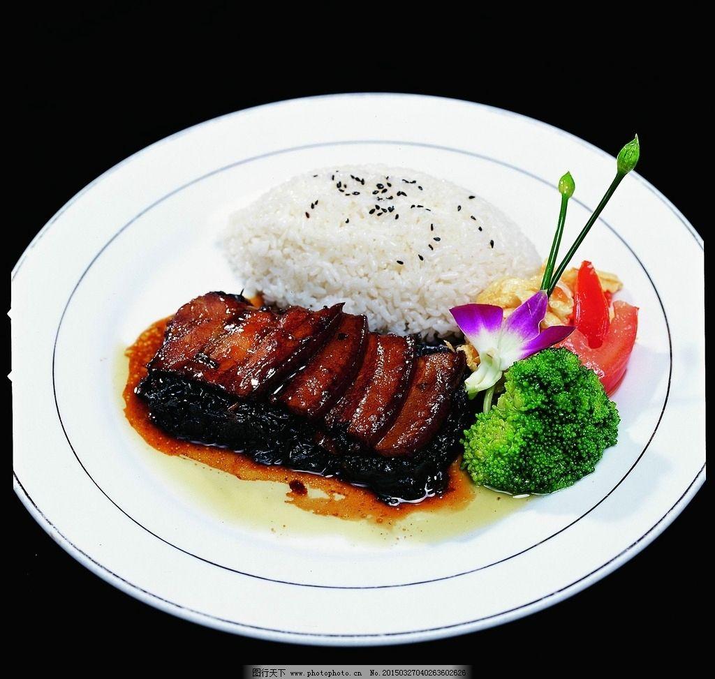 梅干菜扣肉饭 梅干菜 扣肉 西兰花 芝麻饭 菜品图片 摄影 餐饮美食