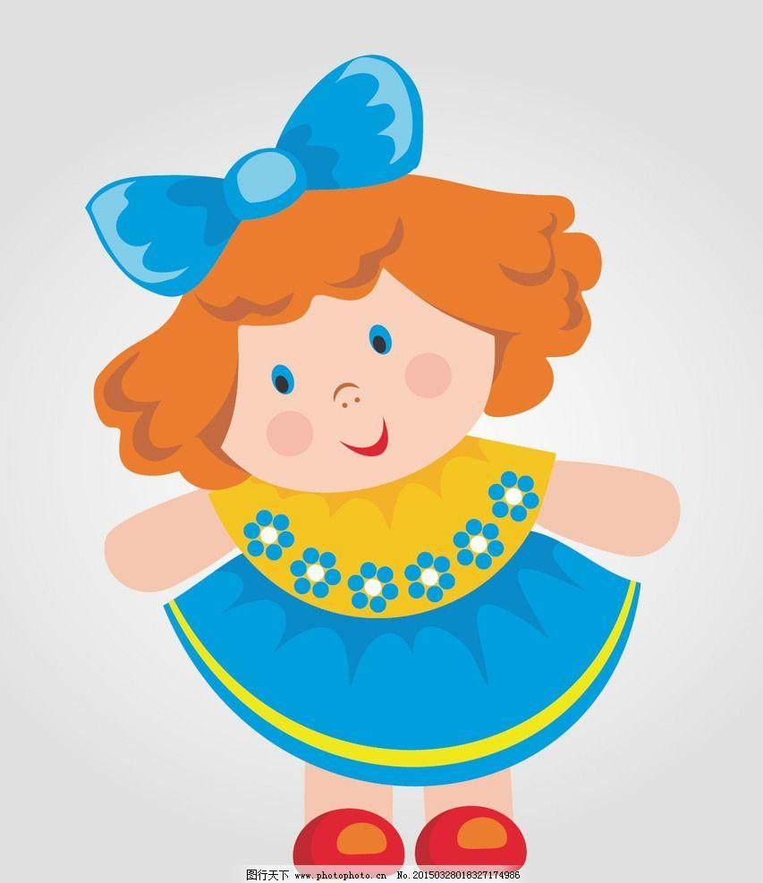 卡通 小女孩 小妹妹 花朵 曲线 蓝色 花瓣 荷叶 植物 漂亮 可爱 儿童