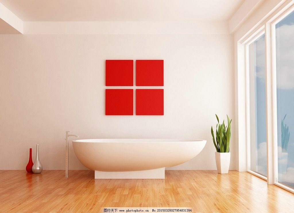 浴室 木地板 绿植 卫浴 浴缸 设计 环境设计 室内设计 300dpi jpg